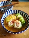 豆腐入り肉団子のくるくるロール白菜(ピリ辛スープ)