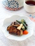 揚げ茄子とオクラとエリンギのマヨ炒め