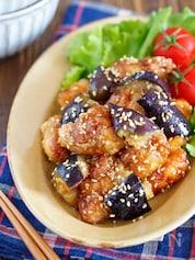 揚げない鶏唐となすの甘酢ごまだれ【#作り置き#オイル蒸し】