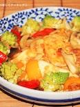 豆腐と彩り野菜のオニオンソース炒め