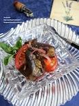 レンジ蒸し茄子とトマトのバルサミコ酢和え