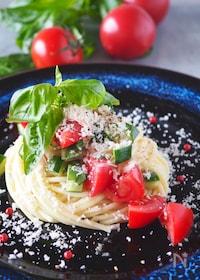 『【ワンボウルであえるだけ】トマトと帆立の冷製スパゲッティ』