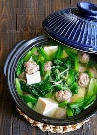 『小松菜と豚団子の生姜鍋』
