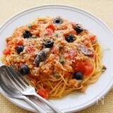 いわし缶の地中海風トマトスパゲティ
