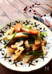 『さつま揚げと小松菜の中華おこげあんかけ』