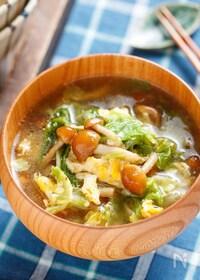 『白菜となめこのとろ〜り♡かき玉ジンジャースープ【#包丁不要】』