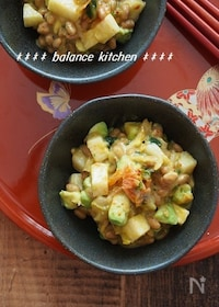『【美容・健康おつまみ】アボカドと長いものキムチ納豆あえ』