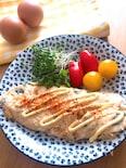 白いオムレツ♡長芋とおくら入りのふわネバオムレツ