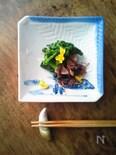 焦がし菜花とホタルイカの温菜