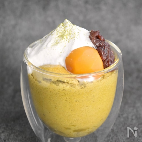 ふわしゅわ♪栗と抹茶のコップシフォン