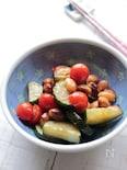 お豆の入ったきゅうりとミニトマトの揚げ焼き