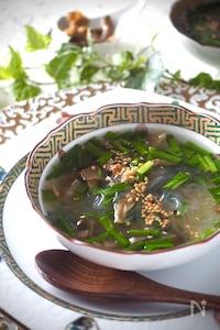 【レンジで2分】ニラとザーサイの春雨即席スープ
