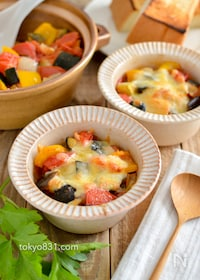 『ラタトゥイユのチーズ焼き。トースターで焼くだけ簡単アレンジ!』