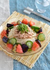 『氷野菜そうめん。凍らせた夏野菜でひんやり!暑い日にピッタリ。』