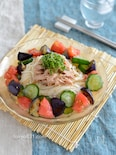 氷野菜そうめん。凍らせた夏野菜でひんやり!暑い日にピッタリ。