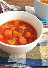 『食べるスープ♪野菜ジュースで簡単☆具沢山ミネストローネ』