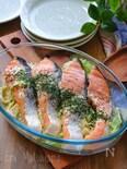 レンジで簡単!甘塩鮭とキャベツのにんにくレモンマヨ蒸し