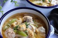 ねぎ香る*鶏団子と豆腐のふわたま味噌スープ