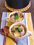 絹揚げ豚もやしのほんのりエスニック風春雨スープ