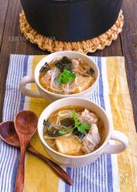 『絹揚げ豚もやしのほんのりエスニック風春雨スープ』