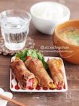シャキシャキパプリカが美味しい豚の生姜焼き巻き♡