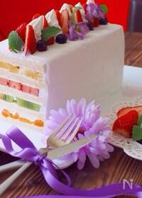 『食パンでフルーツサンドケーキ』
