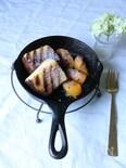 焼きカステラとラムの香りの柿のソテー