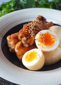 『【酢の効果でお肉ほろほろ】鶏手羽元とゆで卵のさっぱり黒酢煮』