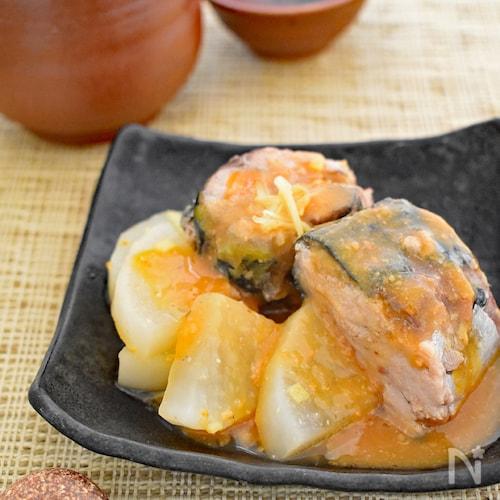 【レンジで簡単】サバ缶と大根の味噌煮