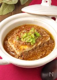 『肉の旨味が際立つ♪ピリ辛肉味噌あんかけ豆腐』