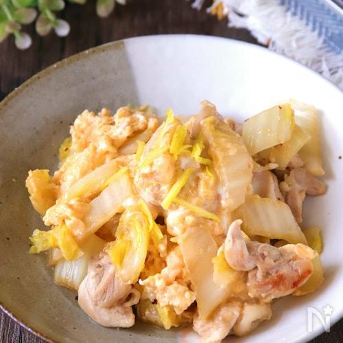 白だしで味決まる♪白菜と鶏肉のふんわり卵とじ