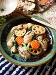 牡蠣と根菜のごま味噌バター炒め
