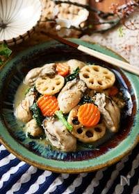 『牡蠣と根菜のごま味噌バター炒め』