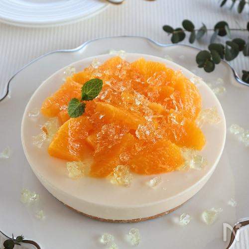 オレンジのレアチーズケーキ