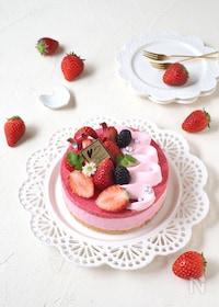『マシュマロで簡単!苺ムースケーキ』