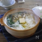 【ごちそううどん】牡蠣とほうれん草の豆乳煮込みうどん♪