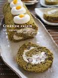 黒豆&栗金団豆乳クリーム抹茶ロールケーキ