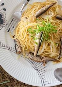 『豆苗とオイルサーディンのペペロンチーノ』