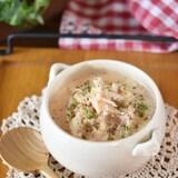 糸寒天と白菜のピリ辛豆乳スープ
