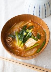 『『豆腐と豚キムチのピリ辛スープ』#やみつき#ご飯に合う』