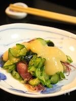 きゅうりとホタルイカの辛子酢味噌和え(ホタルイカの掃除)