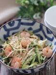 ちゅるっとおつまみ♡長芋と胡瓜とむき海老のオイポン和え