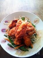 鶏の唐揚げ たっぷり野菜炒め添え