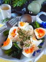 やみつきクリーミー*ゆで卵とほうれん草の明太タルタルサラダ