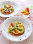 餃子の皮活用!カラフルミニトマトのお花ピザ