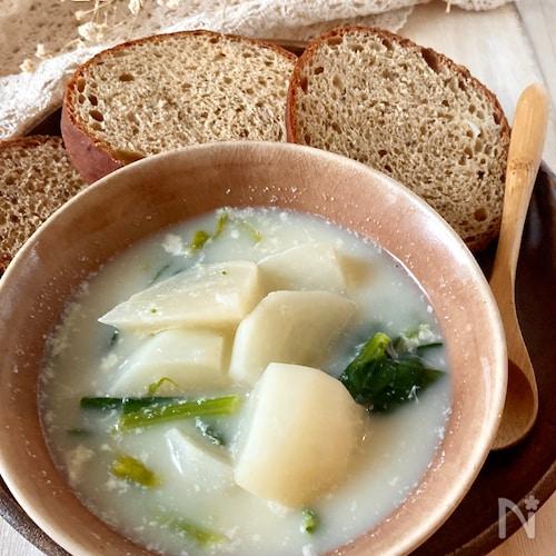 かぶと小松菜のミルクスープ。