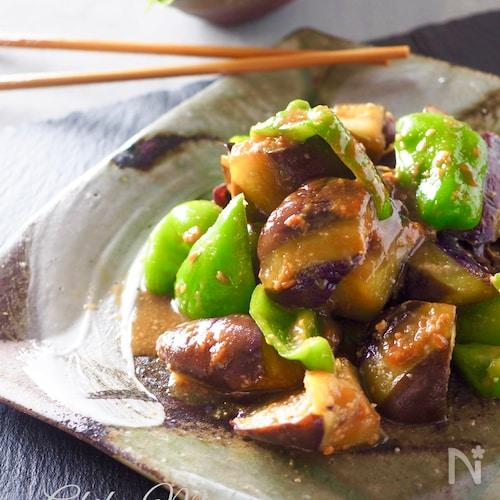 【レンジで簡単】なすとピーマンの油味噌炒め#作り置き#お弁当