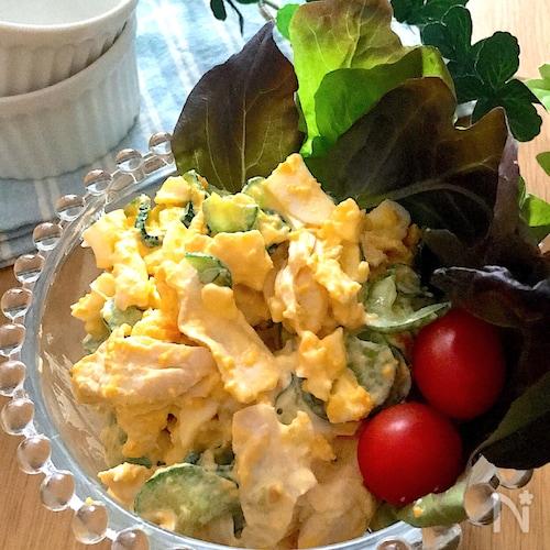 大満足な組み合わせ♡ささみときゅうりの味噌マヨたまごサラダ