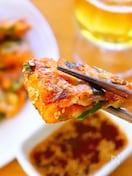 【韓国料理】もちもち食感の豚キムチチーズチヂミ