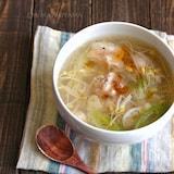 豆もやしと鶏肉の旨塩とろみにんにくスープ